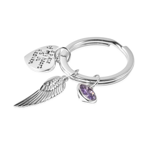 Charms De Memoire Simulated Amethyst, Angel Wing and Heart Charms in Key Chain in Sterling Silver