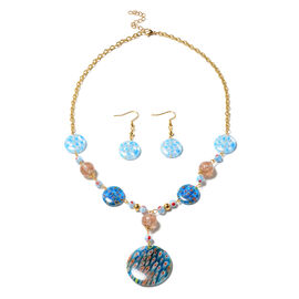 Multi Colour Murano Style Glass Necklace (Size 20 with 4 inch Extender) in Stainless Steel