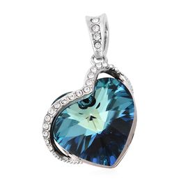 J Francis Blue Crystal and Swarovski White Crystal from Swarovski Heart Pendant