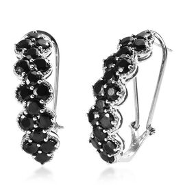 Elite Shungite (Rnd) J-Hoop Earrings (with French Clasp) in Platinum Overlay Sterling Silver 6.00 Ct