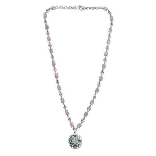 Ethiopian Welo Opal Enamelled Necklace (Size 18) in Platinum Overlay Sterling Silver 8.00 Ct, Silver wt. 18.00 Gms