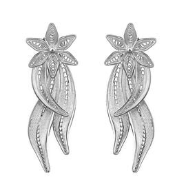 Royal Bali Floral and Leaf Stud Earrings with Push Back in Silver