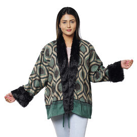 Sage Ogee Pattern Cozy Jacquard Jacket with Faux Fur Trim and Long Sleeve - Teal Green and Black