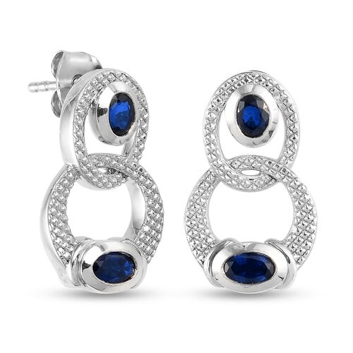 Tanzanian Blue Spinel Earrings (with Push Back) in Platinum Overlay Sterling Silver 1.25 Ct.