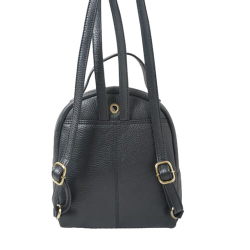 Assots London BETTY Womens Zip Top Mini Leather Backpack with Adjustable Shoulder Strap (Size 24x21x7cm) - Black