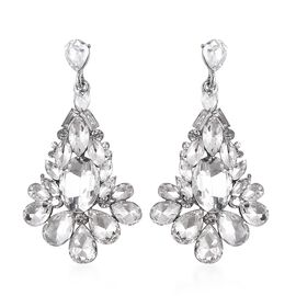 Simulated Diamond and White Austrian Crystal Dangle Earrings (with Push Back) in Silver Tone