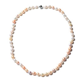Freshwater Natural Colour Pearl Beaded Necklace in Rhodium Plated Silver 20 Inch