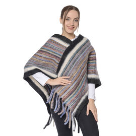 New Arrival Spring Style Striped Poncho with Black Border and Tassel Hem