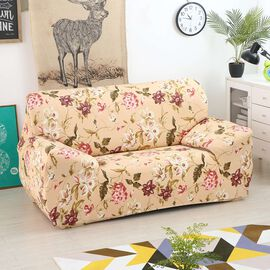Floral Printed Washable Stretch Sofa Cover (Size 90-145 Cm) - Beige and Multi