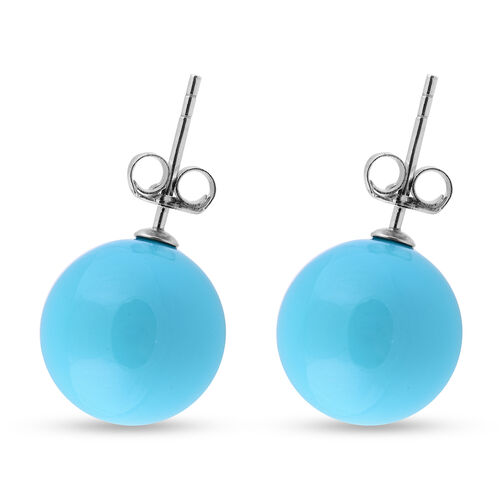 Blue Shell Pearl Stud Earrings (with Push Back) in Rhodium Overlay Sterling Silver