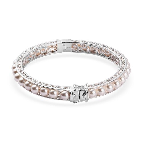 J Francis Crystal from Swarovski White Pearl Crystal Ball Bangle (Size 7.5) with Magnetic Clasp Lock in Platinum Plated
