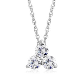 9K White Gold Diamond (Rnd) Trilogy Pendant with Chain (Size 18) SGL Certified (I3/G-H)