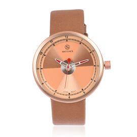 STRADA Japanese Movement Rose Colour Dial Water Resistant Watch with Brown Colour Strap