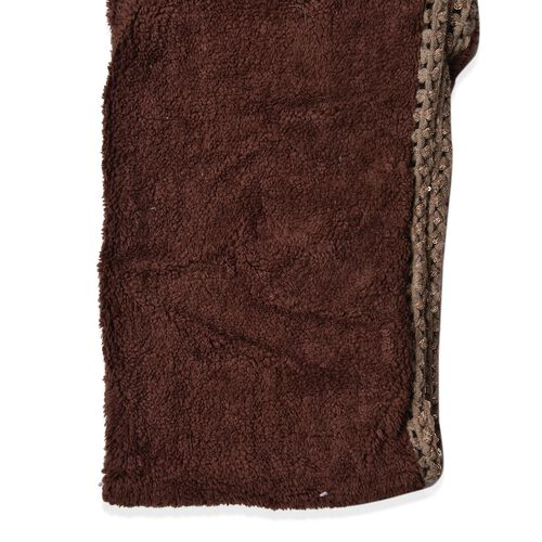 Khaki and Chocolate Colour Faux Fur and Sequin Embellished Double Side Infinity Scarf (Size 68X20 Cm)