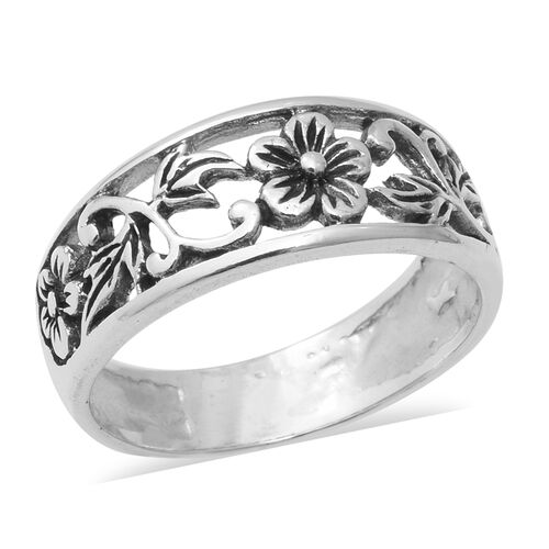Floral Band Ring in Sterling Silver 3.70 Grams