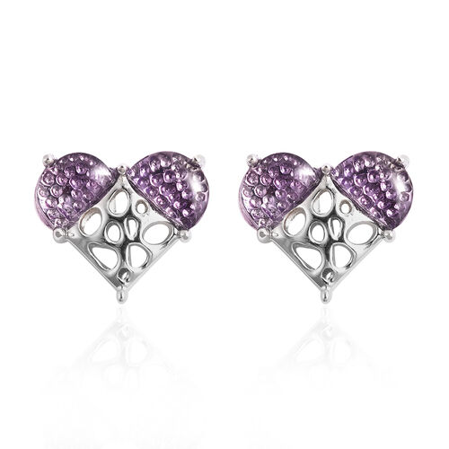 RACHEL GALLEY Amethyst Lattice Heart Earrings (with Push Back) in Rhodium Overlay Sterling Silver 1.