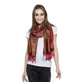 100% Superfine Silk Red and Multi Colour Jacquard Scarf with Fringes at the Bottom Size 180x70 Cm