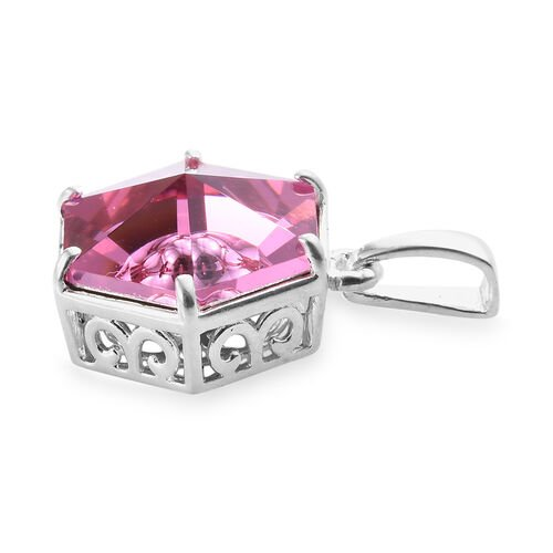 J Francis - Crystal from Swarovski Rose Colour Crystal Pendant in Sterling Silver