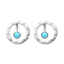 1.40 Ct Arizona Sleeping Beauty Turquoise and Zircon Drop Earrings in Platinum Plated Silver