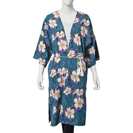 Hibiscus Flower Pattern Long Kimono with Rope Belt (Size 60x103 Cm) - Teal Green