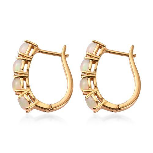 Ethiopian Welo Opal (Ovl) Hoop Earrings (with Clasp Lock) in 14K Gold Overlay Sterling Silver 1.350 Ct.