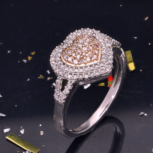 9K White Gold Pink and White Diamond Heart Ring 0.50 Ct.