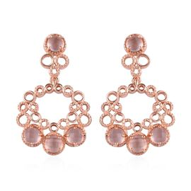 GP Rose Quartz (Rnd), Blue Sapphire Earrings (with Push Back) in Rose Gold Overlay Sterling Silver 4