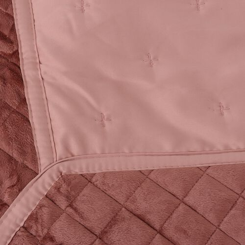 Premium Collection-Patchwork Matt Sateen Winter Quilt with Embroidery Micro Mink Border in Pink Colour (King/double Size 240x260 cm)