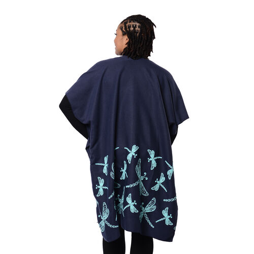 Navy Kimono with Light Blue Drangonfly Embroidered (Size 90x95cm)