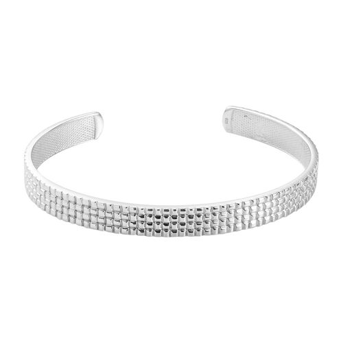 Platinum Overlay Sterling Silver Cuff Bangle (Size 7.5), Silver wt. 22.93 Gms