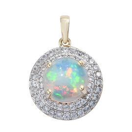 4 Carat AAA Ethiopian Opal and Cambodian Zircon Halo Pendant in 9K Gold