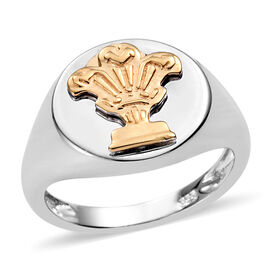 Designer Inspired-Platinum and Yellow Gold Overlay Sterling Silver Signet Ring, Silver wt 3.50 Gms.