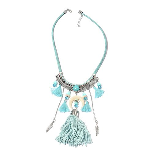 Designer Inspired-Simulated Aquamarine, Blue Howlite, White Howlite and Multi Colour Beads Necklace (Size 22) in Silver Plated.