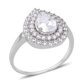 ELANZA Simulated Diamond (Pear) Ring (Size P) in Rhodium Overlay Sterling Silver, Silver Wt. 4.00 Gms