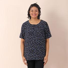 LA MAREY 100%Viscose Floral Pattern Round Neckline Blouse - Black and Blue