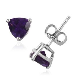 Amethyst (Tri 6 mm) Stud Earrings (with Push Back) in Platinum Overlay Sterling Silver 1.250 Ct.