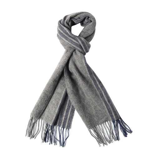 Super Soft Plaid Pattern Wool Scarf (Size 30x167+8cm) - Grey