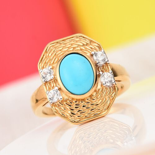Arizona Sleeping Beauty Turquoise and Natural Cambodian Zircon Ring in 14K Gold Overlay Sterling Silver 1.25 Ct.