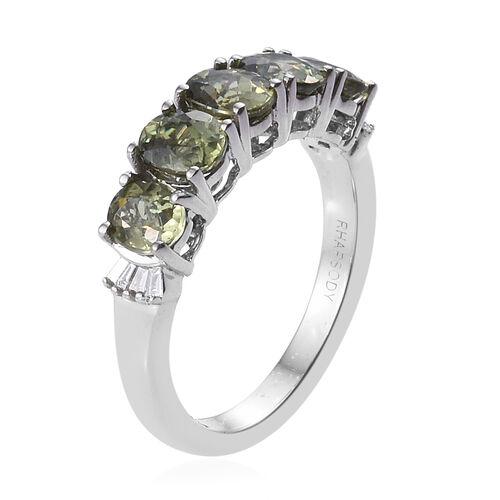 Signature Collection- RHAPSODY 950 Platinum AAAA Russian Demantoid Garnet (Ovl), Diamond (VS/E-F) Ring 2.050 Ct.