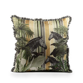 The Tropical Collection - Zebras Digital Print on Faux Dupion Silk Cushion Cover (Size 45x45 cm)