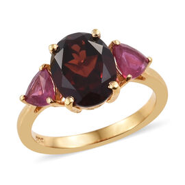 4 Carat Mozambique Garnet and African Ruby 3 Stone Ring in Gold Plated Sterling Silver
