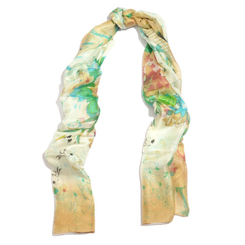 100% Mulberry Silk Off White, Green and Multi Colour Handscreen Floral and Butterfly Printed Scarf (Size 180X100 Cm)