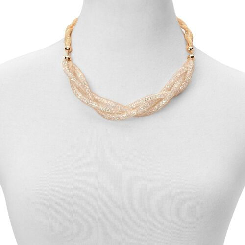 AAA White Austrian Crystal Necklace (Size 18 with 2 inch Extender) in Gold Tone