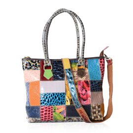 Morocco Collection Animal Print Block Pattern 100% Genuine Leather Tote Bag with Adjustable and Remo