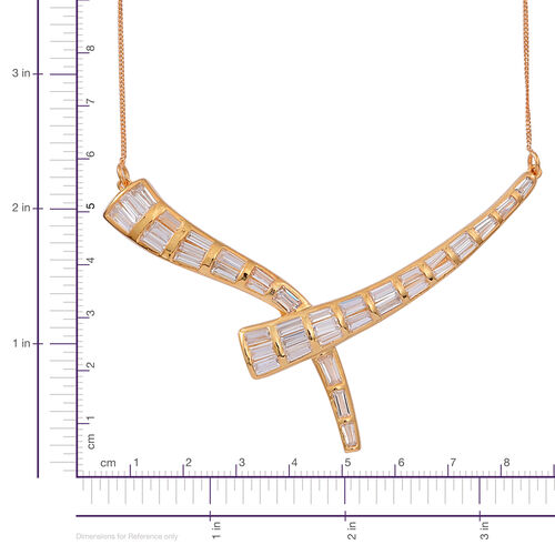 ELANZA AAA Simulated White Diamond (Bgt) Necklace (Size 16) in 14K Gold Overlay Sterling Silver