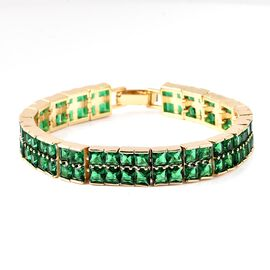 Simulated Diopside (Sqr) Bracelet (Size 7.5) in Yellow Gold Tone