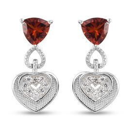 Cherry Citrine and Natural Cambodian Zircon Heart Dangle Earrings (with Push Back) in Platinum Overl