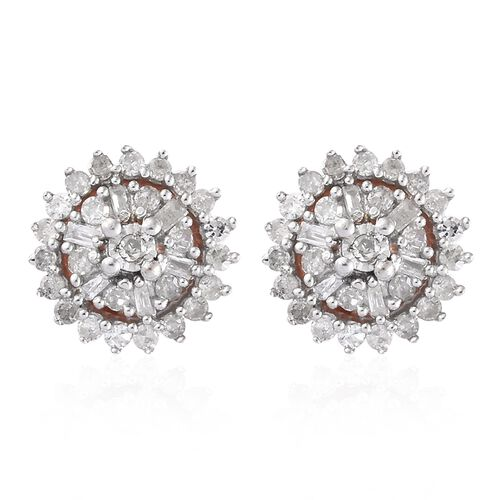 Diamond (Bgt & Rnd) Flower Earrings (with Push Back) in Rose Gold Overlay Sterling Silver 0.331 Ct.