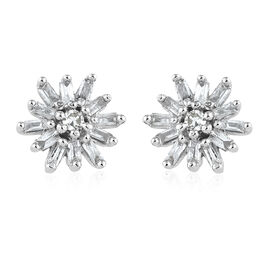 Diamond Platinum Overlay Sterling Silver Earring  0.200  Ct.