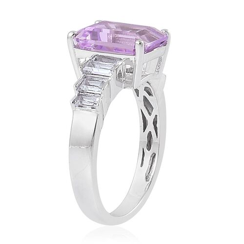 Rose De France Amethyst (Oct 3.25 Ct), White Topaz Ring in Platinum Overlay Sterling Silver 3.580 Ct.